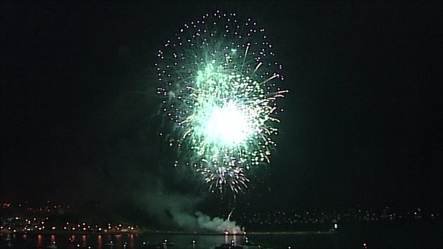 Fireworks above Plymouth Sound