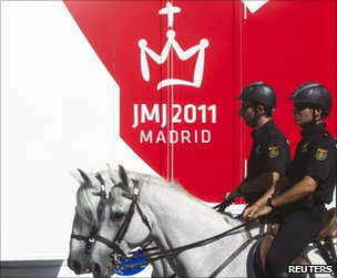 Mounted police patrol central Madrid, 17 August