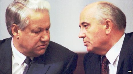 Boris Yeltsin, left, and Mikhail Gorbachev