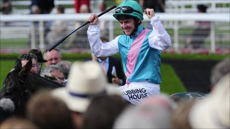 Jockey Mongan celebrates on Twice Over