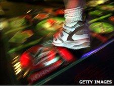 An arcade dance mat