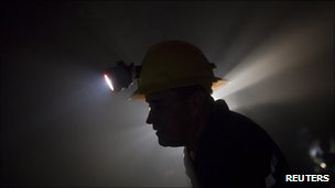 Miner in a Rusoro gold mine in Venezuela