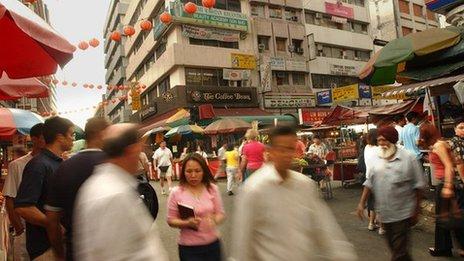 Busy street scene in Kuala Lumpur, Malaysia.
