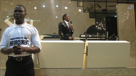 Chris Okotie preaching at his church in Lagos, Nigeria