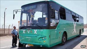 Israeli bus that was attacked near Eilat, 18 August 2011