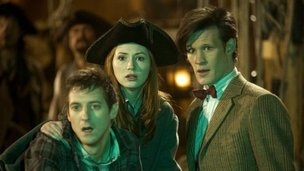 Matt Smith as Doctor Who with Amy Pond taken from series six.