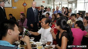 US Vice President Joe Biden at a Beijing restaurant on 18 August 2011