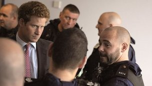 Prince Harry meet with police officers in Salford.