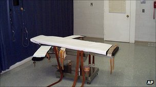 The death chamber at the Greensville Correctional Center in Jarratt, Va