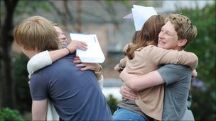 Students from Botham School, York, celebrate exam results