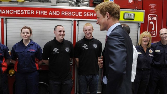 Prince Harry at the Salford Fire Station near Manchester
