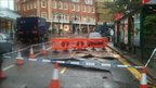 Road surface cracks in Bournemouth after heavy rain fall