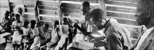 30th July 1949: Learning to read Creole, which will be used to teach French, the official language, at a school set up by UNESCO