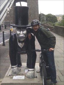 Tony Hancy with gorilla