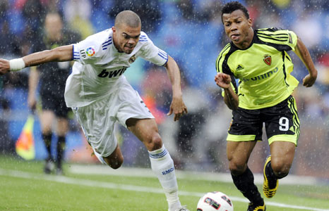 Ikechukwu Uche (right) in action for Real Zaragoza