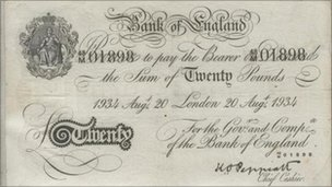 A counterfeit British banknote