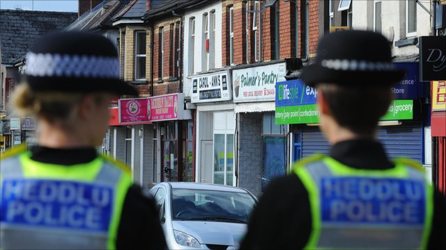 Police at the hair dressing salon on Malpas Road in Newport