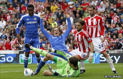 John Mikel Obi (left) playing Chelsea against Stoke City last weekend