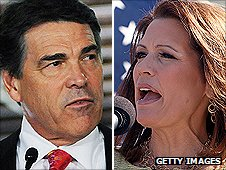 Montage image - Texas Governor Rick Perry (L) and Michele Bachmann