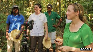 Google employees take pictures within the Amazon rainforest