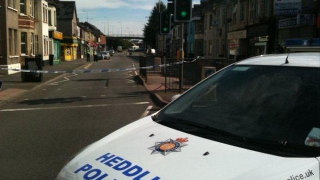 Scene of shooting in Malpas Road, Newport - BBC copyright