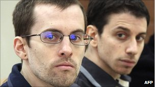 Picture of Shane Bauer (left) and Josh Fattal, released by Iran&#039;s state-run Press TV on 6 February 2011