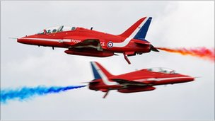 The Red Arrows' Hawk T1 jets