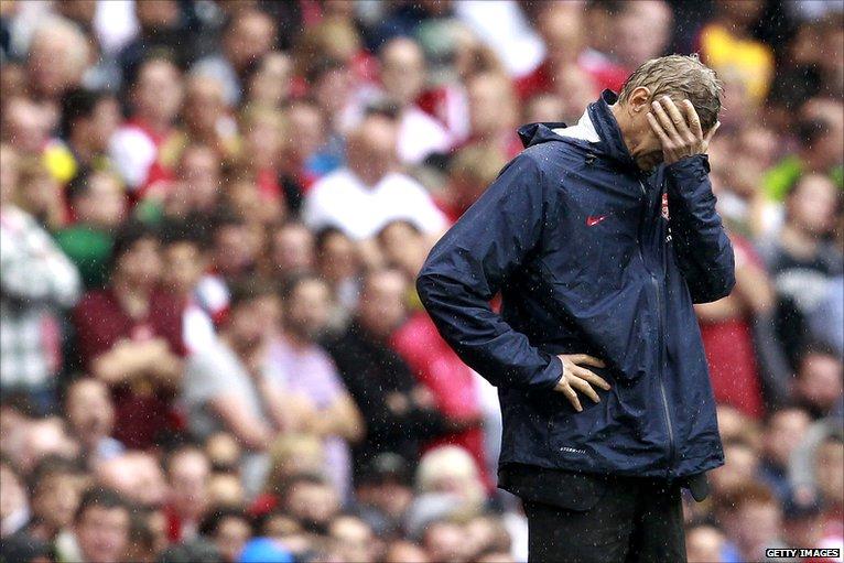 Arsene Wenger showing his frustration