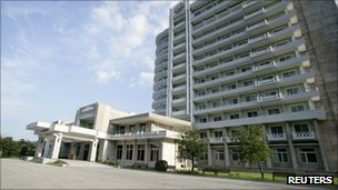 File photo of Kumgangsan hotel seen at the Mount Kumgang resort in North Korea