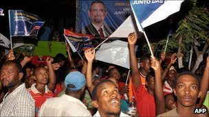 Supporters of Jorge Carlos Fonseca celebrate his victory in elections on Sunday