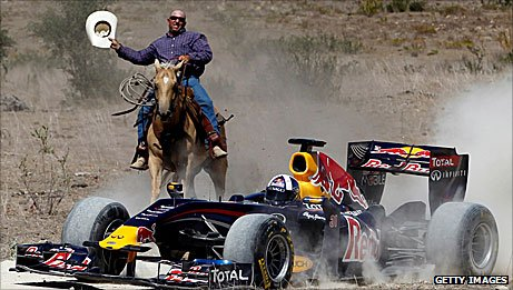 David Coulthard drives Red Bull's demonstration Red Bull in Texas