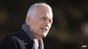 New Democratic Party leader Jack Layton in Brantford, Ontario, in March 2011