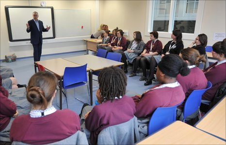 Huw Edwards goes through some essentials with the pupils of The Grey Coat Hospital School in London