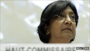 United Nations High Commissioner for Human Rights Navi Pillay at a special session of the United Nations Human Rights Council on the situation in Syria in Geneva August 22 2011