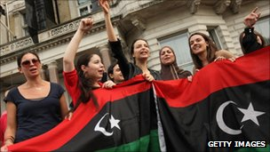 Celebrations outside the Libyan embassy in London