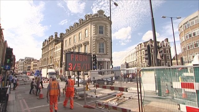 Roadworks in Borough High Street