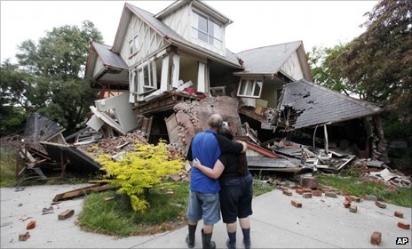Crushed house in Christchurch