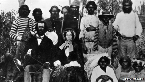 Early Australian settlers with Aborigines