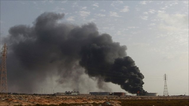 Smoke rising from Libyan oil storage facility