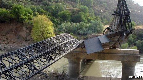 A bridge destroyed by Turkish military action in Dohuk, northern Iraq, 20 August