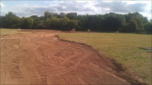 Flood defence work at Powick