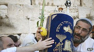 A Jewish man takes part in a religious ceremony in Jerusalem
