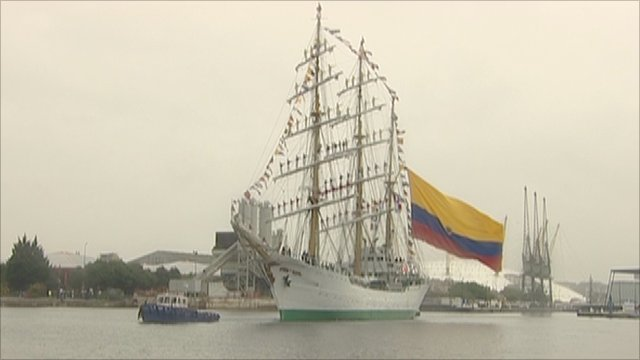 Colombian navy's flagship vessel Gloria docks in London