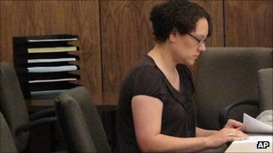 Jessica Beagley in court in Anchorage, Alaska, 23 Aug 2011