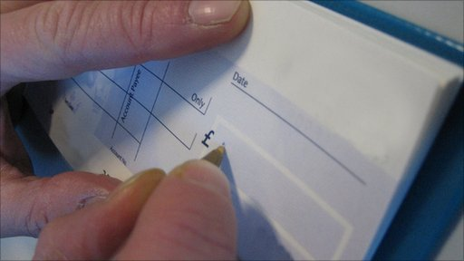 Person writing cheque