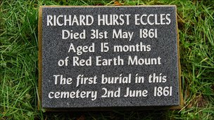 A commemorative stone on the grave of Richard Hurst Eccles