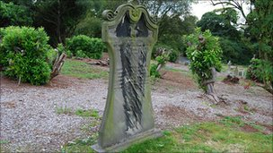 A headstone scarred by rhododendrons