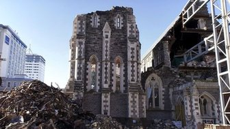 Ruins of a cathedral in Christchurch, New Zealand.
