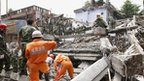 Rescue workers in action after an earthquake in China.