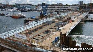 Construction of the Twin Sails bridge in Poole PHOTO: Borough of Poole